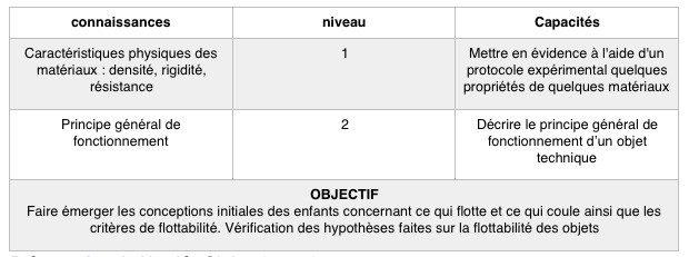 objectif : Vérifier la flottabilité d'un objet