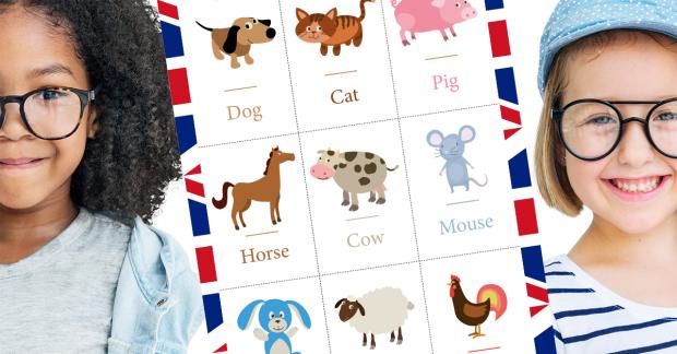 Cartes pédagogiques pour apprendre l'anglais : LES ANIMAUX